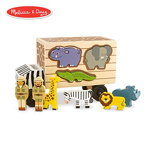 (Melissa & Doug Animal Rescue Shape-Sorting Truck (Wooden Toy With 7 Animals and 2 Play Figures))