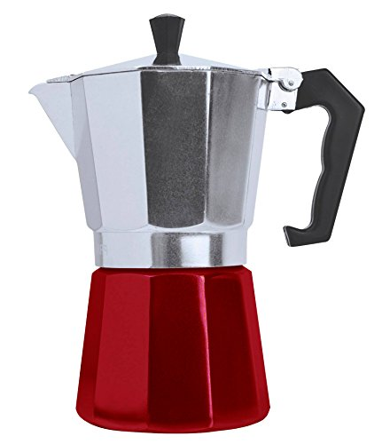 Stovetop Espresso Maker - Moka Pot Coffee Maker for Gas or Electric Stovetop Italian Espresso Cappuccino or Latte (3 CUP RED)