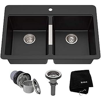 Kraus KGD-433B 33 1/2 inch Dual Mount 50/50 Double Bowl Black Onyx Granite Kitchen Sink
