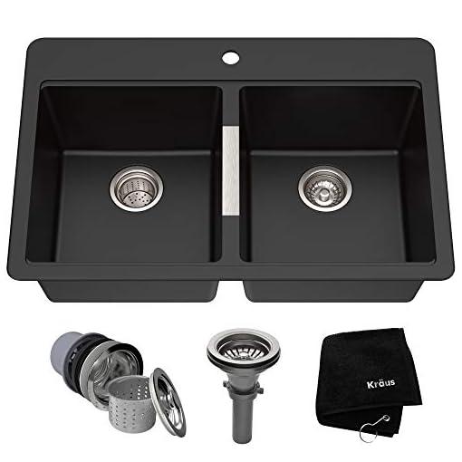 Kitchen Kraus Quarza Kitchen Sink, 33-Inch Equal Bowls, Black Onyx Granite, KGD-433B model modern kitchen sinks