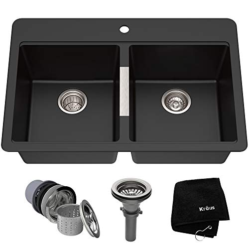 - Kraus KGD-433B 33 1/2 inch Dual Mount 50/50 Double Bowl Black Onyx Granite Kitchen Sink
