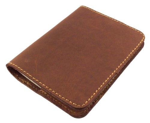 "Refillable Leather Pocket Notebook - Mini Composition Cover - Fits Standard 4.5 x 3.25"" Mini Composition Book (Dark Brown)"