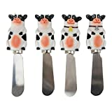 Boston Warehouse Cow -Themed Spreader Set, Udderly Cows Collection, Set of 4, Hand Painted