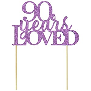 All About Details Purple 90-Years-Loved Cake Topper