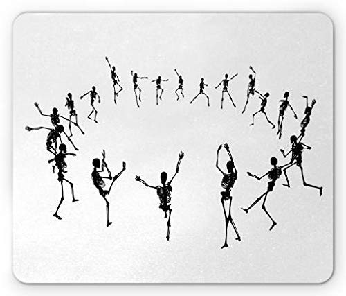 Dance Mouse Pad, Skeleton Silhouettes Dancing in a Ring Happy Halloween Holiday Themed Monochrome, Standard Size Rectangle Non-Slip Rubber Mousepad, Black White,8.66 x 7.08 x 0.118 Inches