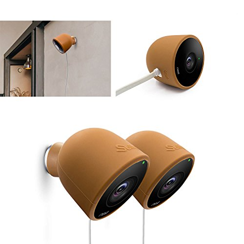 Silicone Skins for Nest Cam Outdoor Security Camera - (2pcs Brown) NestCam Silikon Video Camera Covers Case Accessories for MAIN-41495 and NC2400ES UV Light Weather Resistant Perfect Fitting by Sully