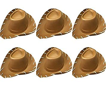 b498b72a56b Quickdraw 6 x Childrens Brown Cowboy Hat Wild West EVA Toy Story Fancy  Dress Costume Accessory  Amazon.co.uk  Toys   Games