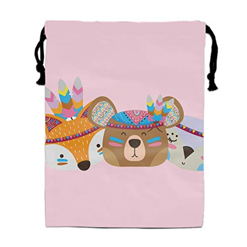 Colorful Animals Head Friends With Feathers Print Drawstring Bag Rucksack Totes Gym Bag Party Favors for -