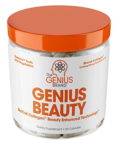 Genius Beauty - Hair Skin and Nails Vitamins + Detox Cleanse + Anti Aging Antioxidant Supplement, Collagen Pills w/Glutathione & Astaxanthin for Wrinkles, Hair Growth & Skin Whitening - 60 Capsules (Best Vitamins For Clear Skin)