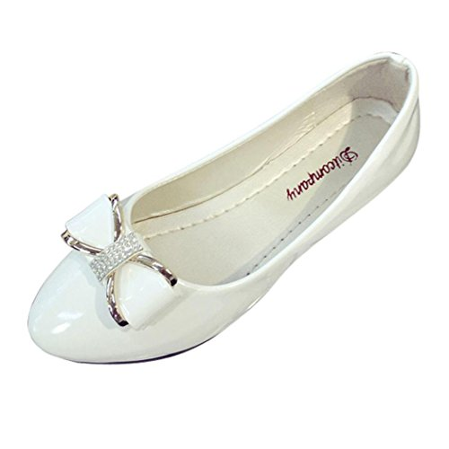 Inkach Fashion Womens Flat Shoes Round Toe Casual Rhinestone Low Heel Shoes White OOR9MgmQ