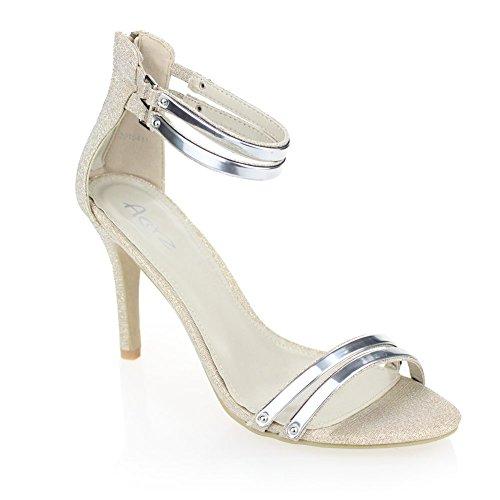 Aarz Mujeres casual de las señoras del alto talón de las sandalias del partido de baile zapatos de boda Tamaño (Negro, Plata, Oro, champán) Oro