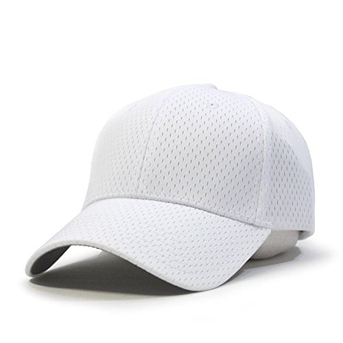 Plain Pro Cool Mesh Low Profile Baseball Cap with Adjustable Velcro (White)