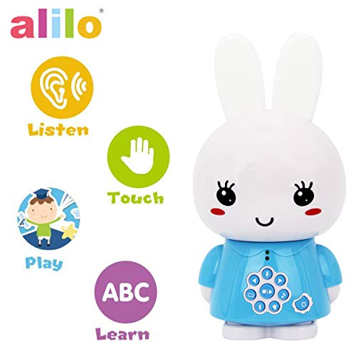alilo Honey Bunny Story Teller Nursery Rhyme Lullaby Song Bedtime Story Fairy-Tale Interactive Children Brain Kids Early Development Learning Toy Training Bluetooth English Chinese Bilingual G6X Blue
