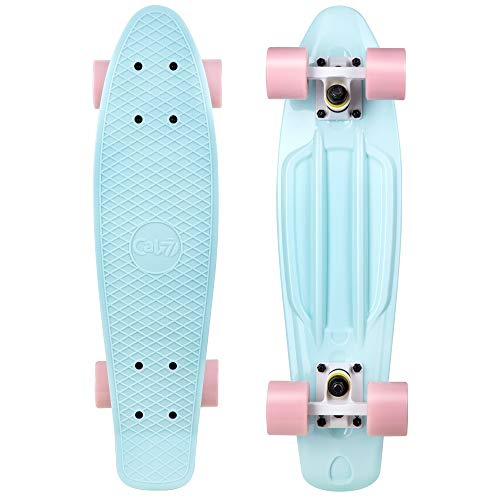 Cal 7 Complete Mini Cruiser | 22 Inch Micro Board | Vintage Skateboard for School and Travel (Lily)
