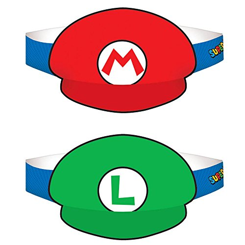 Super Mario Party Birthday Supplies 16 Pack Party Hats ()