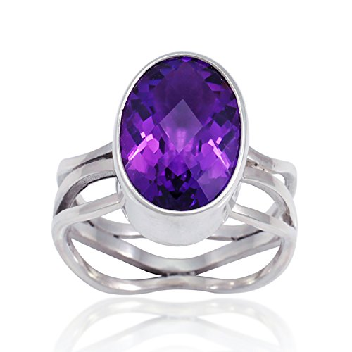 925 Sterling Silver Genuine Purple Amethyst Oval Stone 15 mm Band Ring - Nickle Free, Size 8 ()
