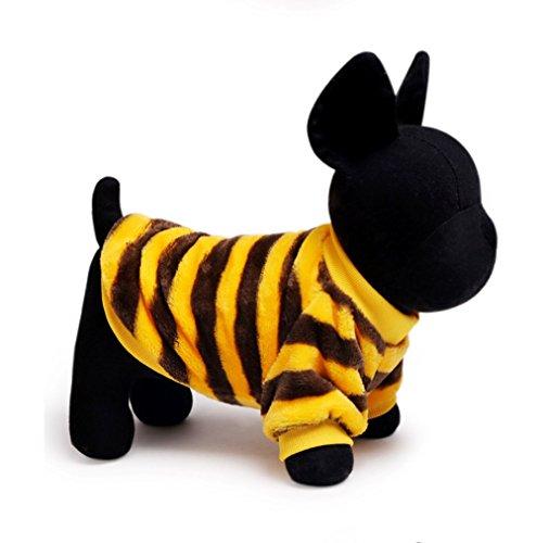 [KeOER Soft Warm Pet Dog Cat Costume Stripe Shirt Pet Coral Fleece Clothes] (The Sims 3 Costume Chest)
