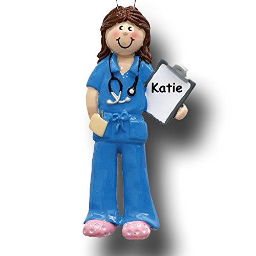Rudolph and Me Personalized Doctor Physician Nurse Christmas Ornament in Blue Uniform Scrubs with Stethoscope Holding Medical Chart - Custom - Christmas Nurse Ornament