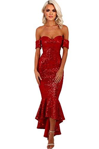 Neuf femmes Rouge Sequins Off épaule sirène Robe de soirée Robe longue Cruise Bal Cocktail Robe de porter Taille M UK 10–12–EU 38–40
