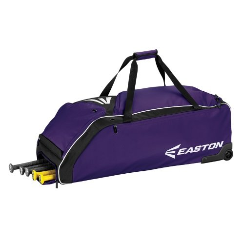 Easton E610W Bat & Equipment Wheeled Bag | Baseball Softball | 2019 | Purple | 4 Bat Compartment | Vented Pockets - Minimize Odor & Quick Dry | Removable Shoe Pocket | Lockable Pockets | Fence Hook
