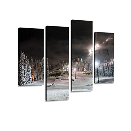 Stevens Pass, Washington Ski Resort Terrain Park at Night Canvas Wall Art Hanging Paintings Modern Artwork Abstract Picture Prints Home Decoration Gift Unique Designed Framed 4 Panel ()