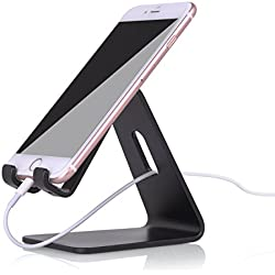 Mobile Phone Stand, KAERSI K1 iPhone iPad Stand Accessories Aluminum Cellphone Desktop Stand for iPhone 7 6 6s Plus 4s 5 5s 5c Galaxy S6 Charging Holder Desk Dock, Samsung Galaxy Tab Tablets, - Black