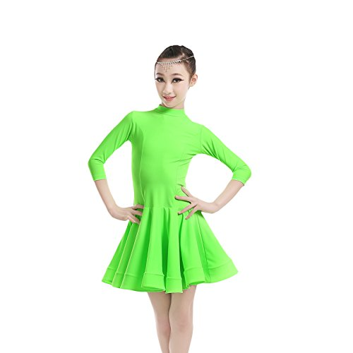 Embiofuels(TM) New Girls Candy Color Ballroom Tango Dance Costumes 3/4 Long Sleeve Dance Practice Clothing Turtleneck Toddler's Party Dress by Embiofuels (Image #2)