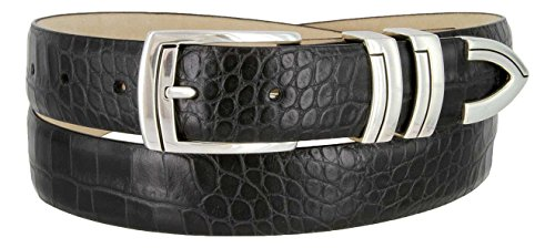 Harbor Men's Italian Genuine Calfskin Leather Designer Dress Belt In Alligator Black, Size 36 (Golf Concho Belts)