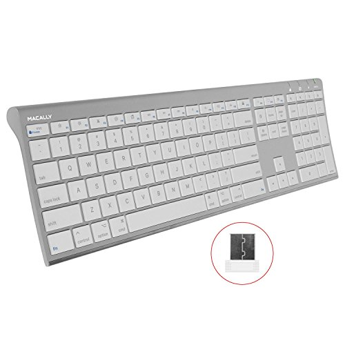 - Macally RF Wireless Computer Keyboard (Full-Size) with Compact 2.4GHz Dongle USB Receiver for Apple MacBook Pro, Air Laptops or iMac, Mac Mini Desktops | Plug and Play (Ultra-Slim)