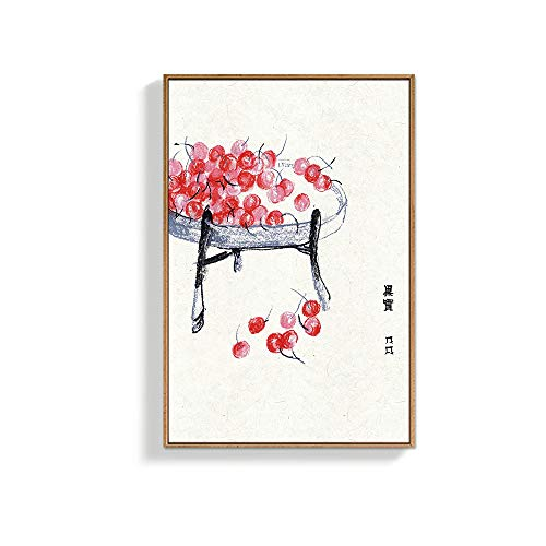 NWT IDEA4WALL Framed Canvas Wall Art for Living Room, Bedroom Chinese Traditional Ink Painting Vegetables Canvas Prints for Home Decoration Ready to Hanging - 24x36 inches