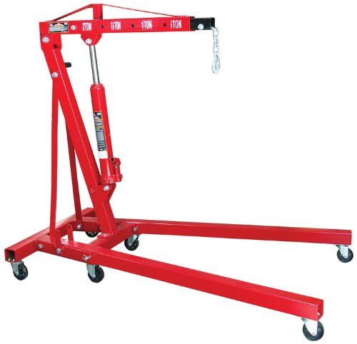 Torin Big Red Steel Engine Hoist/Shop Crane with Foldable Frame, 2 Ton (4,000 lb) Capacity