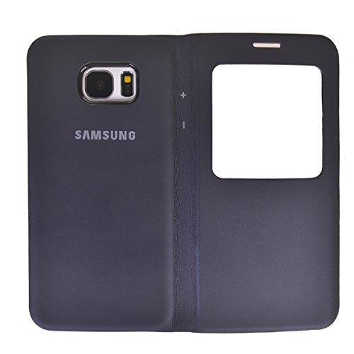 Galaxy S7 Edge Funda,COOLKE Diseño de ventana Flip Funda Con Soporte Plegable Carcasa Funda Tapa Case Cover para Samsung Galaxy S7 Edge - Negro Deep Blue