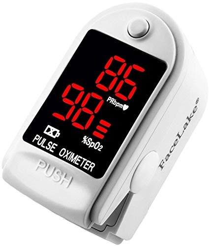 Facelake FL400 Pulse Oximeter with Carrying Case, Batteries, Neck/Wrist Cord - White