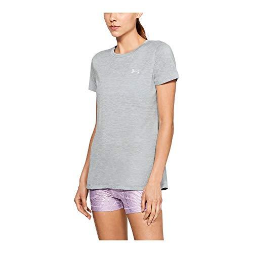 Under Armour Women's Tech Twist T-Shirt, Black (011)/Metallic Silver, Small ()
