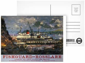 - Highest Quality Pack of 8 shortest sea route to Southern Ireland Fishguard Rosslare Postcard