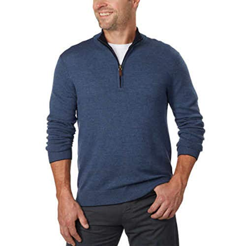 (Kirkland Signature Men's Extra Fine Merino Wool ¼ Zip Sweater (M, Blue) - NEW)