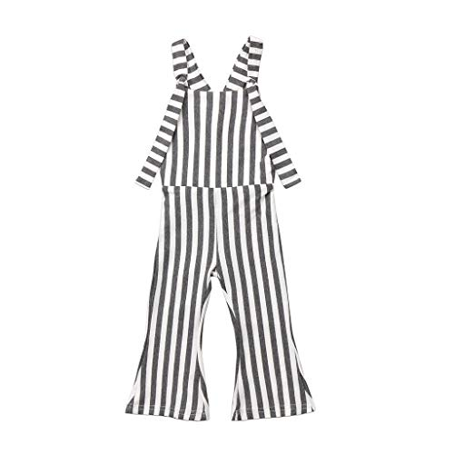 luo man Fashion Cute Kids Baby Girls Striped Brace Pants Overalls Jumpsuit Bell Bottom Outfits Clothes 5 Gray