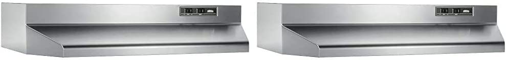"Broan-NuTone 402404 Convertible Range Hood Insert, 6.5 Sones, 160 CFM, 24"" & 403004 Convertible Range Hood Insert with Light, Exhaust Fan for Under Cabinet, 30"", Stainless Steel, 6.5 Sones, 160 CFM"