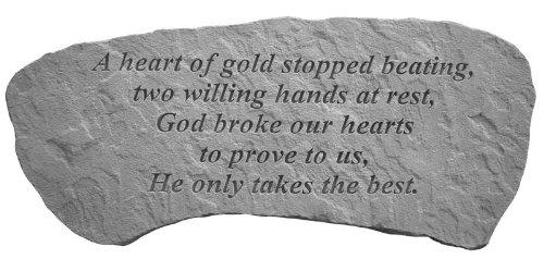 Kay Berry 37420 A Heart of Gold...Sm Bench Memorial Garden Stone, Multicolor