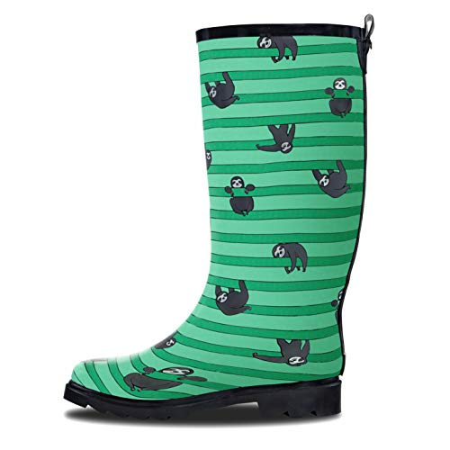 LONECONE Women's Patterned Mid-Calf Rain Boots, Sloths & Stripes, 9