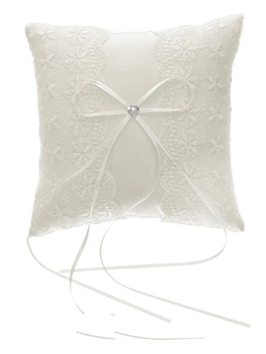 DivaDesigns Double Edge Floral Lace and Heart Shaped Crystal Wedding Ring Pillow ()