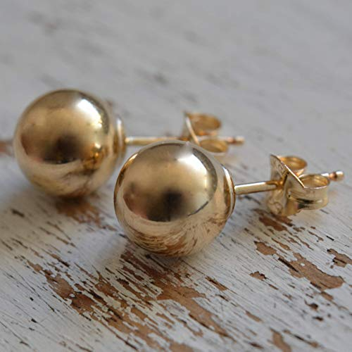 14k Gold Filled Round Ball Earrings studs post size 8mm Pair of Earrings butterfly backs