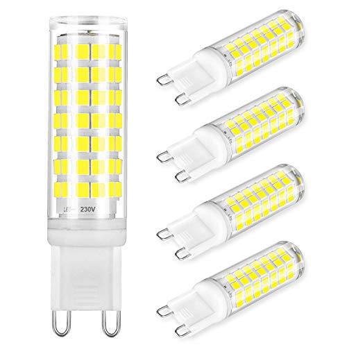 G9 6W Dimmable LED Light Bulbs 40-60W G9 Halogen Bulbs Equivalent Daylight White 6000k G9 Bi Pin Base LED G9, Non-Flicker, AC 120V, 360°Beam Angle, Pack of 5 (G9 Light Bulbs)