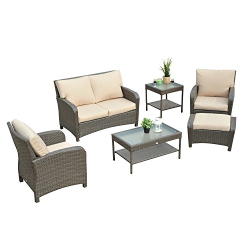 Outsunny 6 Piece Rattan Wicker Outdoor Patio Lounge / Swivel Rocker Set – Seagrass Brown (Chairs Lounge Cheap Plastic Chaise)