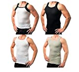 Different Touch 4 Mens G Unit Style Tank Top A Shirt Muscle Rib Undershirt Assorted Colors (M)
