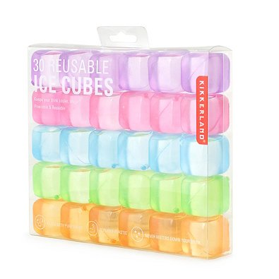 Kikkerland Square Reusable Ice Cubes, Made of Plastic (Set of 30) | Filled With Pure Water