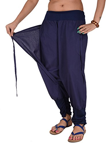 Skirts 'N Scarves Women's Cotton Afghani / Yoga Pant With Pockets (Blue)