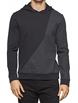 Calvin Klein Grey Mens Colorblock Hoodie Sweater Black 2XL