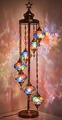 "DEMMEX - 7 Big Globes Turkish Moroccan Mosaic Floor Lamp Light, Bohemian Boho Tiffany Mosaic Floor Lamp with North American Plug & Socket, 55"""