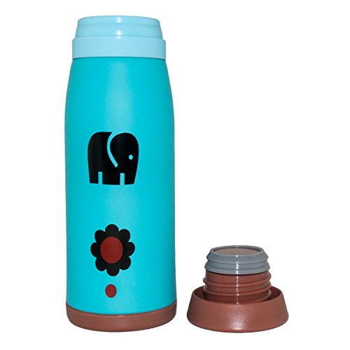 BH Body Stainless Steel Vacuum Thermos Mugs / Water Bottle, Lovely Design, Size L 15-ounce, School Camping Travel Office Drinking, Blue Little Elephant